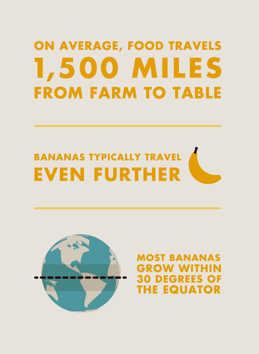 On average, food travels 1,500 miles from farm to table. Bananas typically travel even further. Most bananas grow within 30 degrees of the equator.