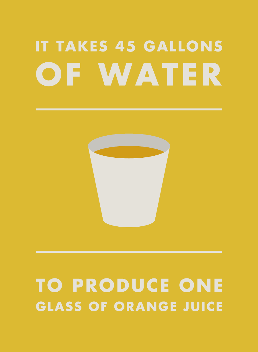 It takes 45 gallons of water to produce one glass of orange juice.