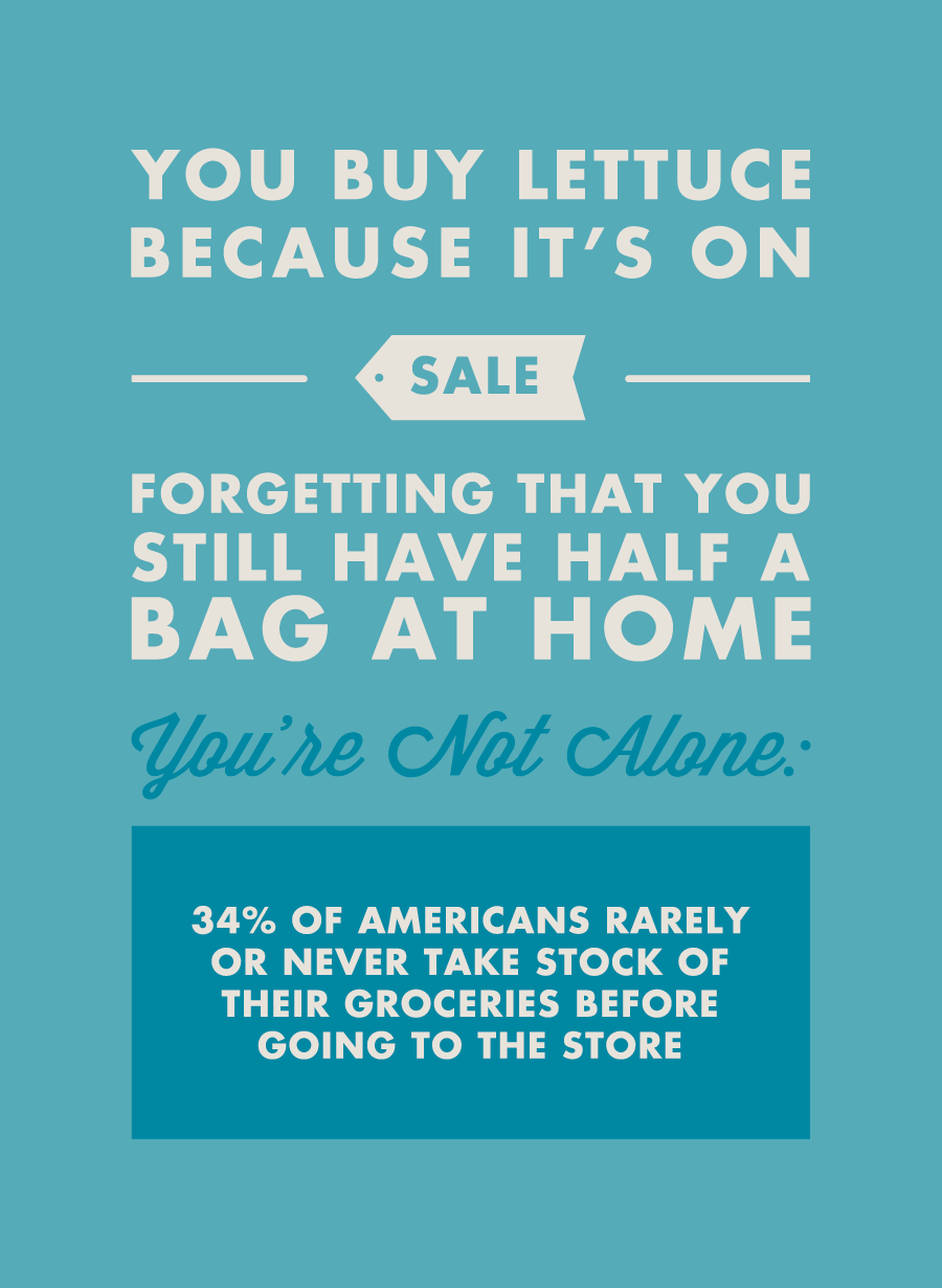 You buy lettuce because it's on sale forgetting that you still have half a bag at home. You're not alone: 34% of Americans rarely or never take stock of their groceries before going to the store